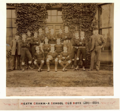 Formal photograph showing the fifteen players of the 18931894 Old Boys Rugby Team with T.H. Sunderland to the left and Sergeant Dillon to the right