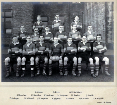 Formal photograph showing sixteen players of the 1930/31 Rugby Team in three rows of seven, six and three from front to back