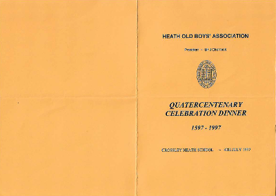 Front of menu with school crest; back page blank
