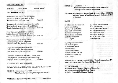 Inside of the order of service with hymns and readings