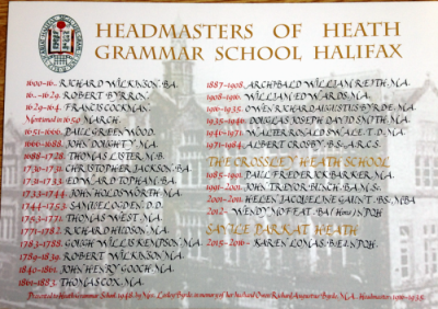 List of headmasters of Heath Grammar School, of Crossley Heath School and of Savile Park at Heath to 2017